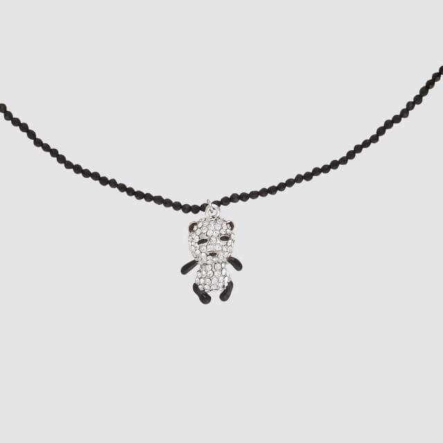 Single Crystal Panda Delicate Beaded Necklace