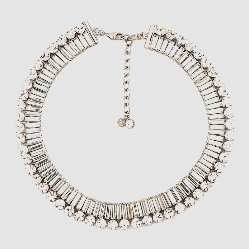 Single Row Crystal Baguette Stones Flat Necklace