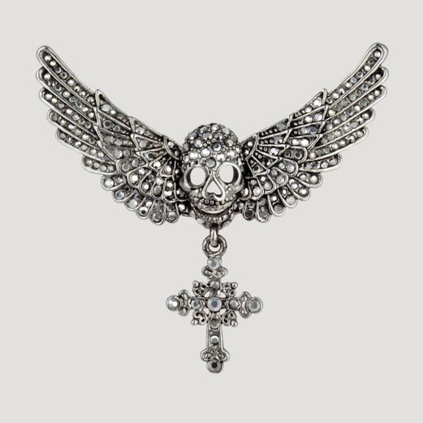Skull With Wings & Cross Drop Crystal Brooch