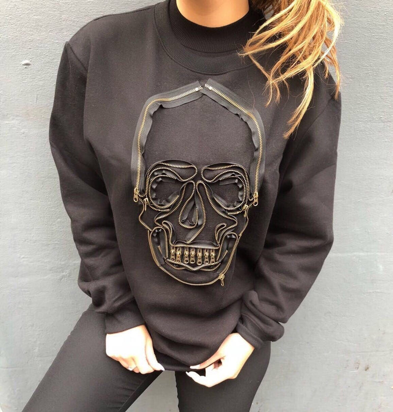 Unisex Zipped Skull Jumper
