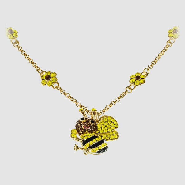 Small Crystal Bee Necklace