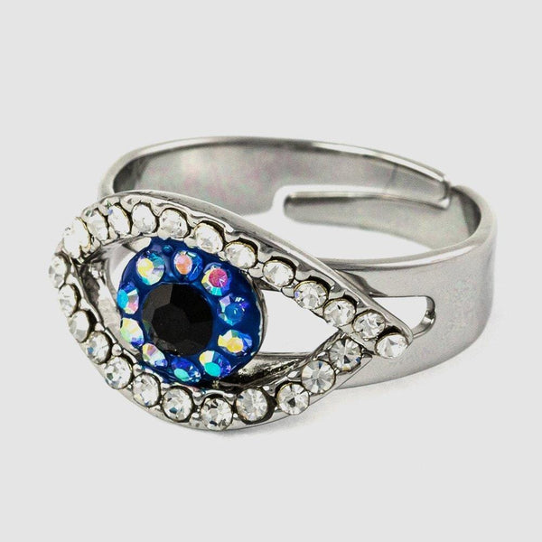 Small Crystal Eye Adjustable Ring