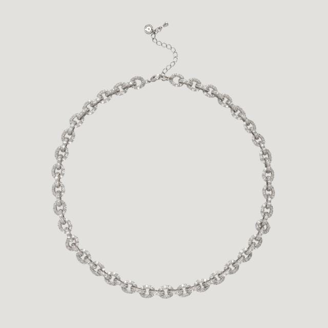 Small Crystal Flat Link Necklace