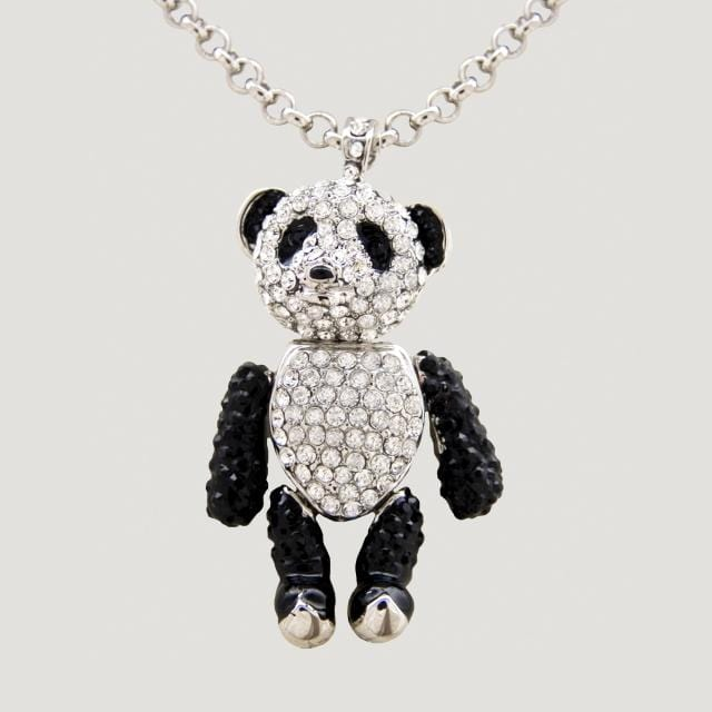 Small Crystal Movable Panda Pendant