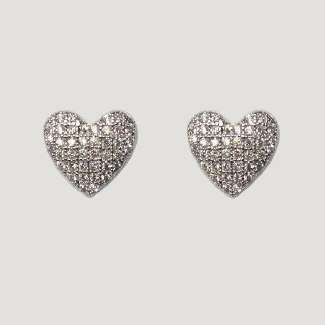 Small Silver Crystal Heart Stud earrings