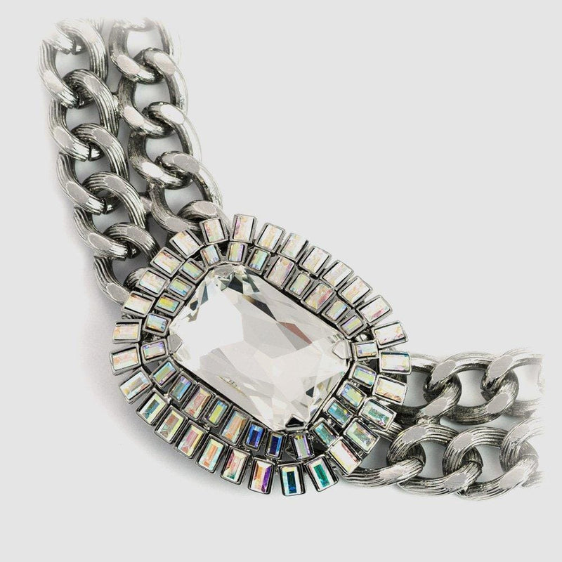 Square Shape Crystal Center on Thick Chain Necklace