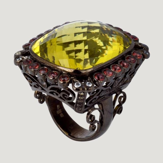 Square Vermeil Ring With Lemon Quartz (53.1 K), Garnet, White & Champagne Topaz