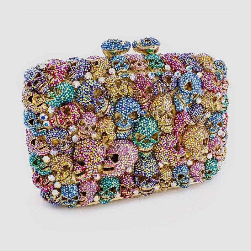 Crystal Multi Skull Side Clutch Bag