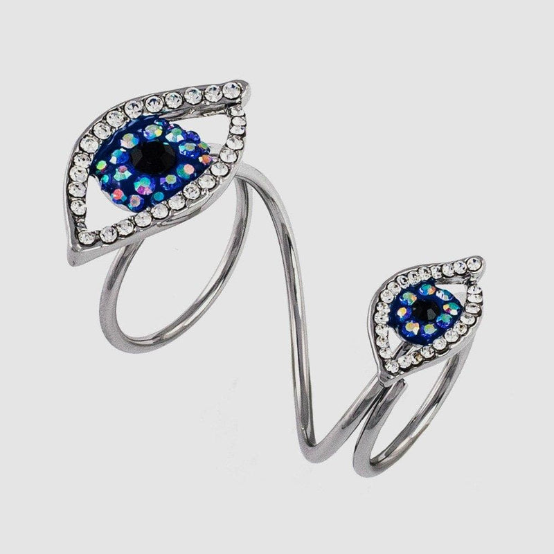 Two Crystal Eyes Adjustable Wrap Ring