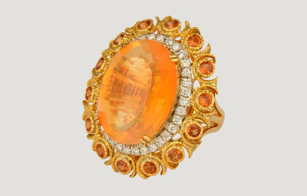 Gold Ring with Fly Opal, Orange Sapphire and Diamond