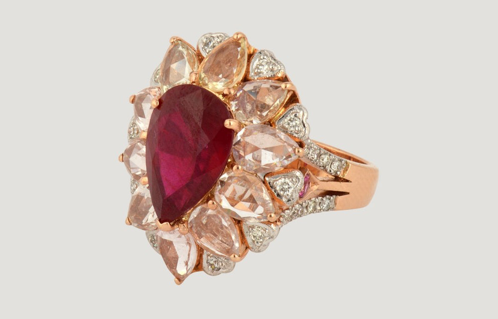 Pink Gold Ring with Ruby