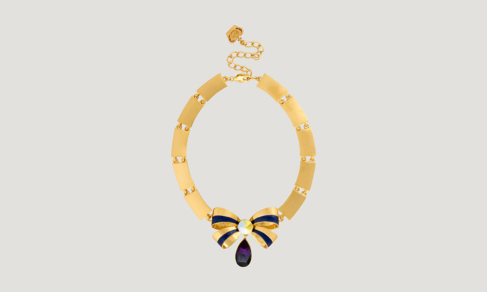 Bow with Teardrop Crystal Flat Bars Necklace | B&W