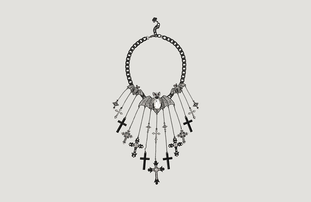 Couture Crystal Bats & Cross Pendants Necklace