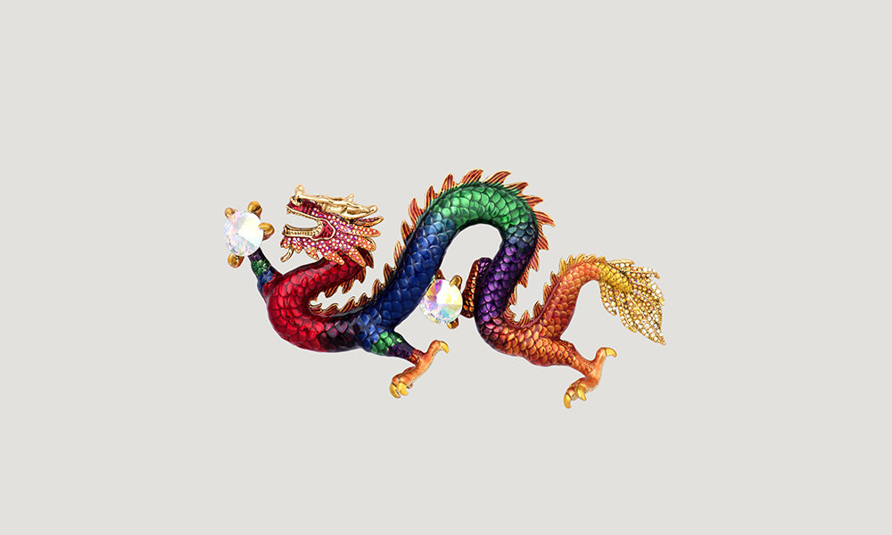 Couture Enamel Chinese Dragon Brooch