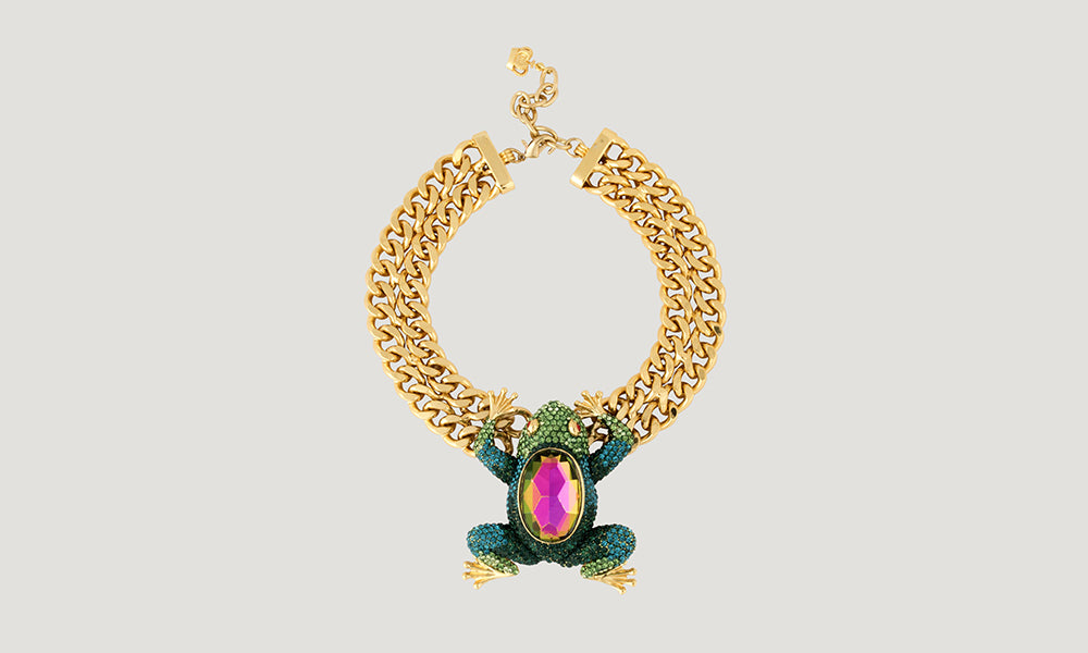 Couture Frog Crystal Flat Chain Necklace