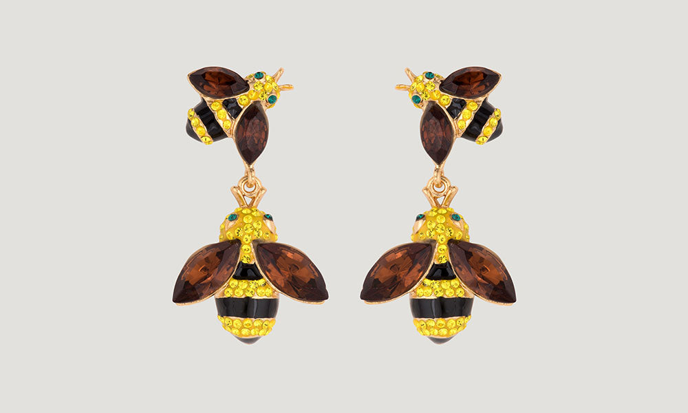 Crystal Bees Drop Earrings - Yellow