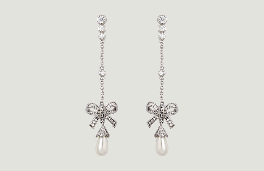 Crystal Bow with Pearl Chain Drop Earrings