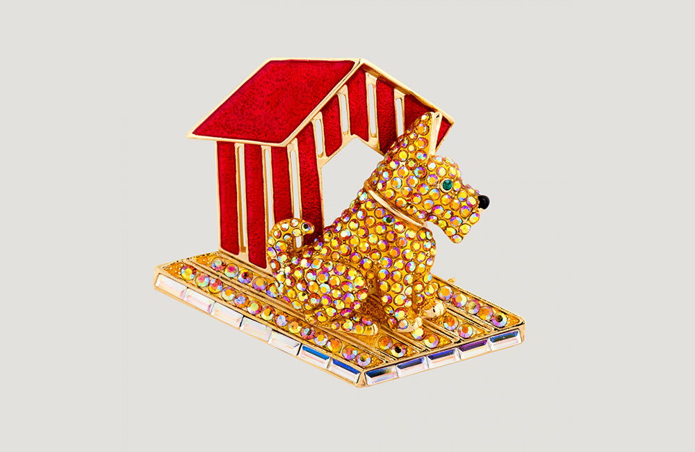 Crystal Dog and Kennel Brooch