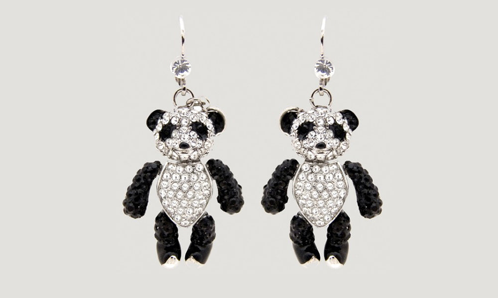 Crystal Panda Drop Earrings