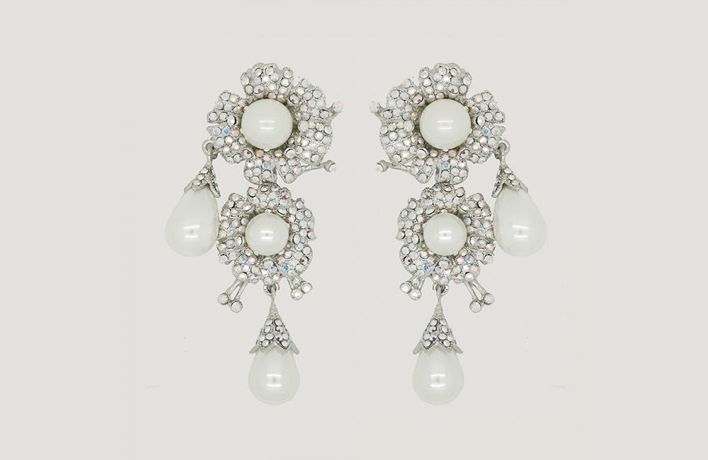 Double Flower and Pearl Drop Earrings