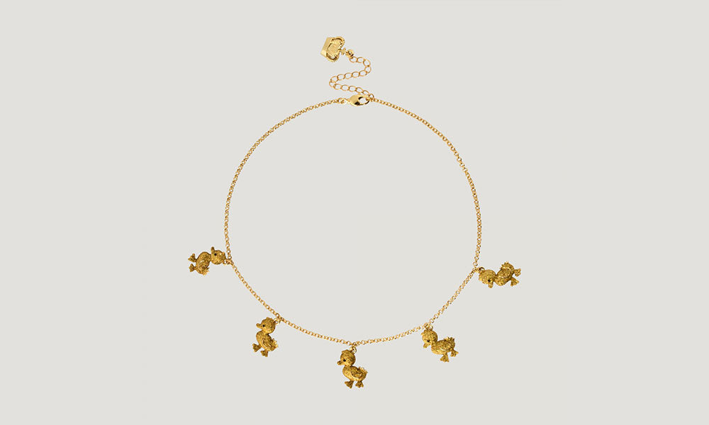 Enamel Duckling Necklace - Gold