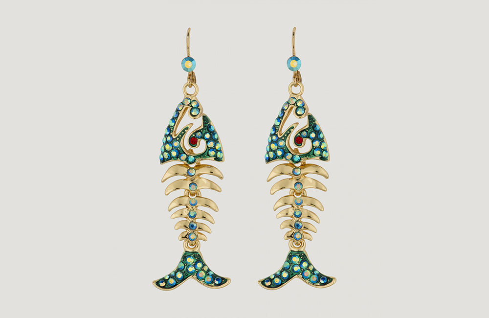 Fish Bone Drop Earrings