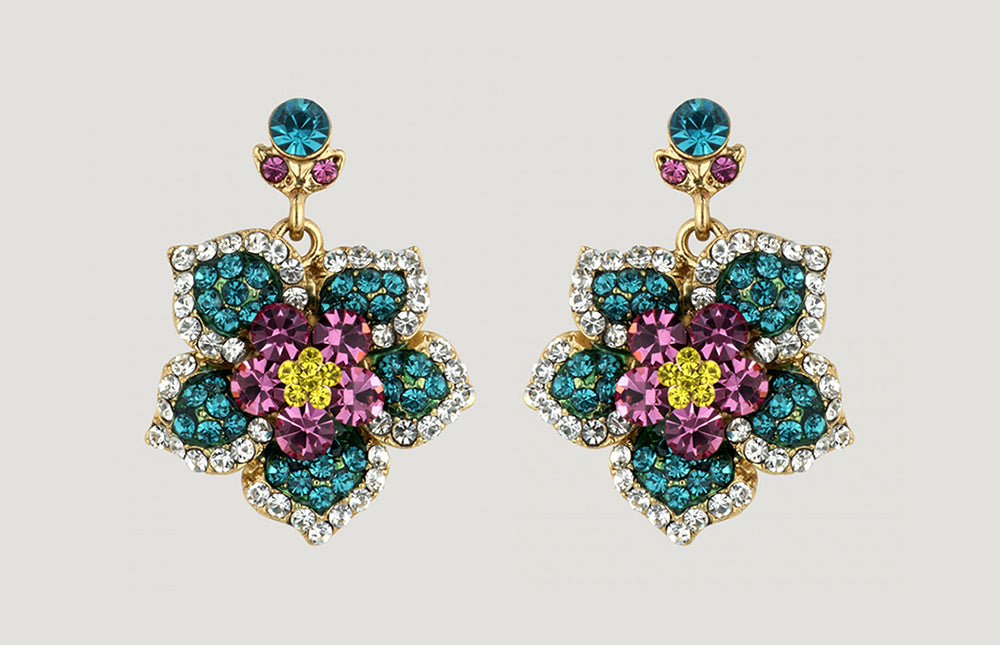 Antique Look Flower Drop Earrings