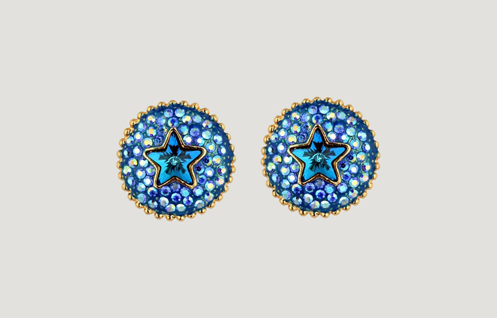 Blue Crystal Round Shape Studs with Stars Earrings