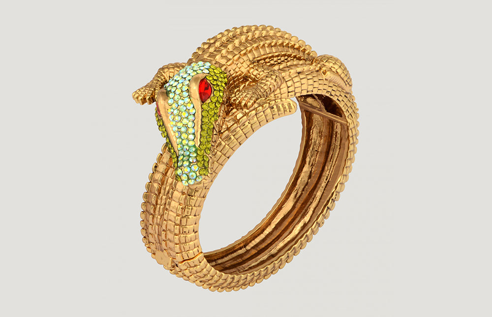 Crystal Crocodile Bangle