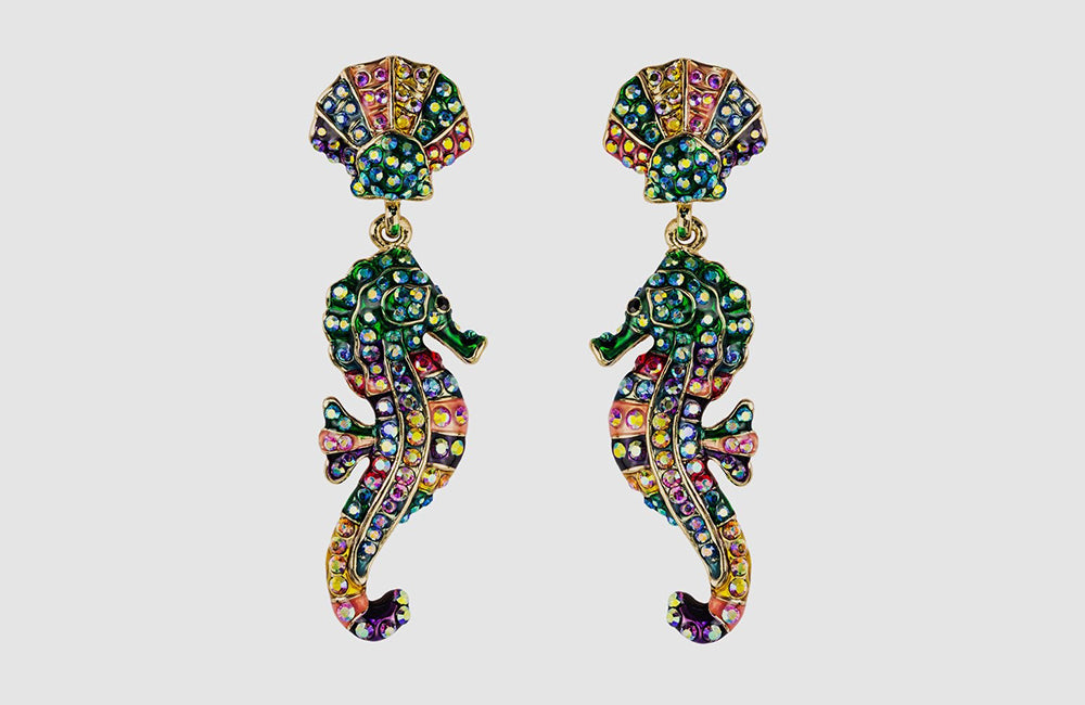 Crystal Seahorse Drop Earrings