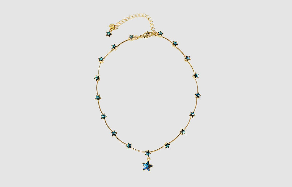 Crystal Stars Delicate Wire Necklace