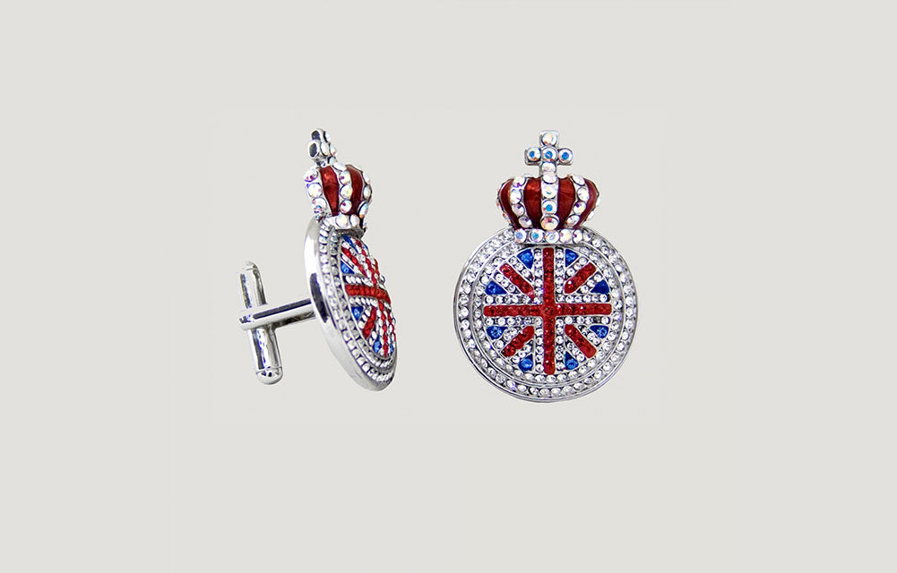 Crystal Union Jack Medal and Crown Cufflinks
