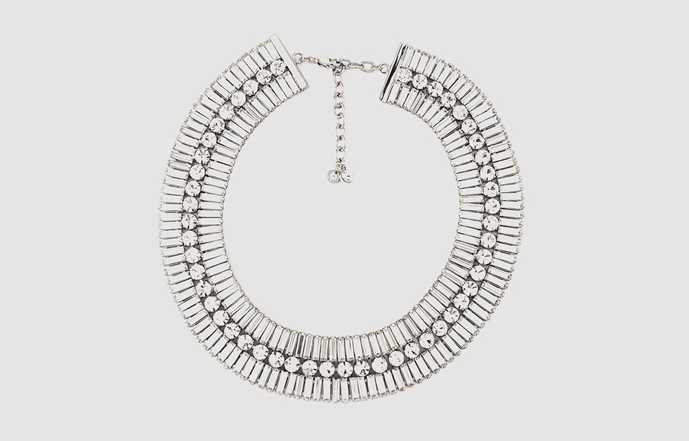 Double Row Crystal Baguette Stones Flat Necklace