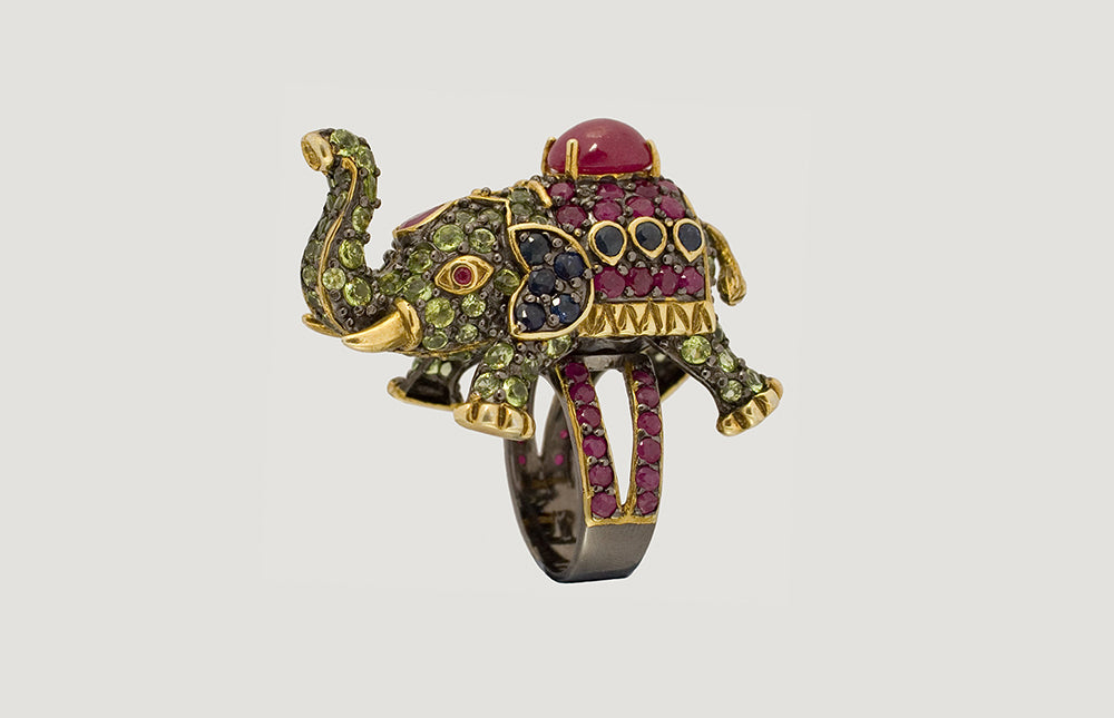 Elephant Ring with Ruby Blue Sapphire and Peridot
