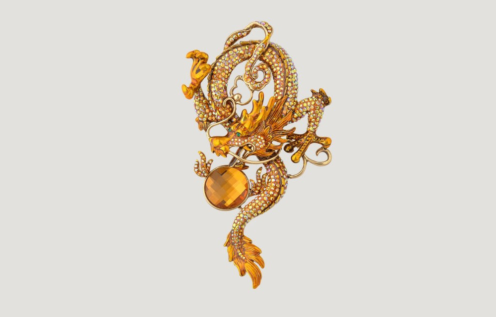 Entwined Chinese Dragon Crystal Brooch