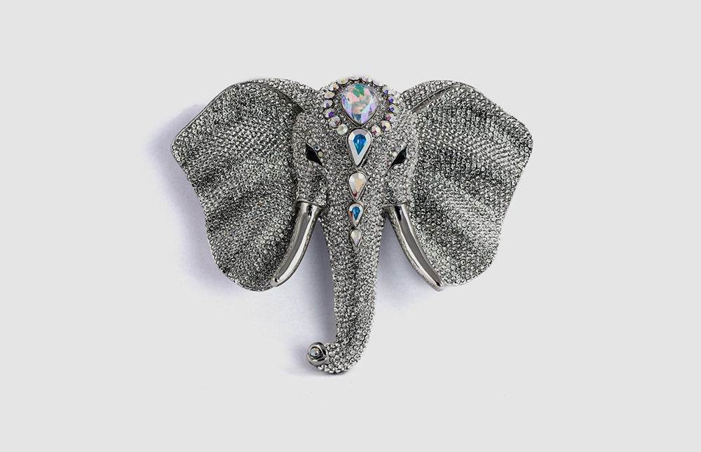 Large Crystal Elephant Head Brooch