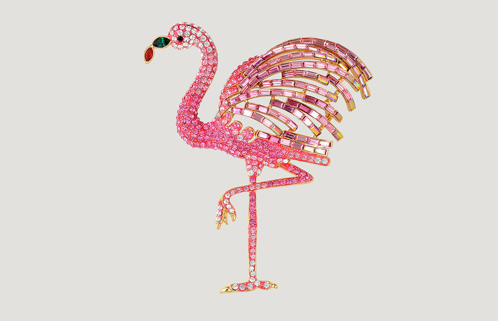 Large Crystal Flamingo Brooch