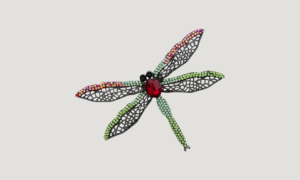 Pointed Dragon Fly Crystal Brooch