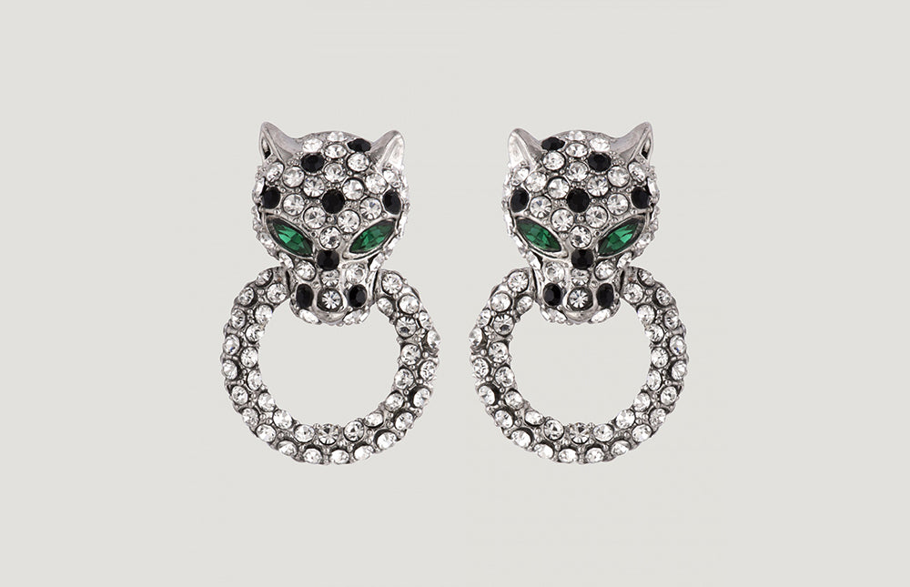Small Crystal Leopard Head on Ring Earrings