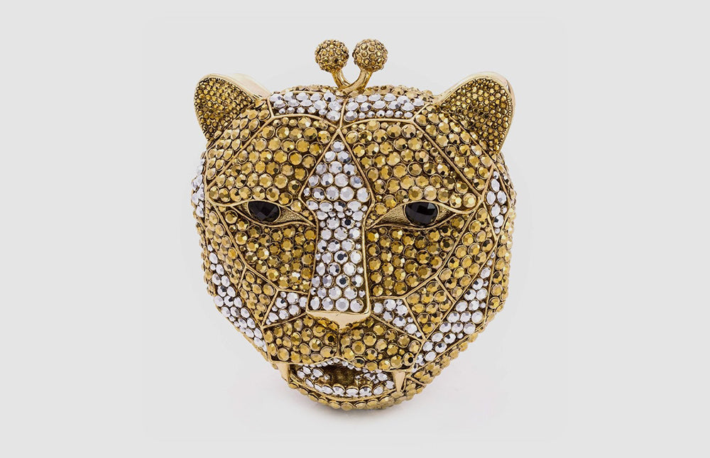 Swarovski Crystal Leopard Head Clutch Bag