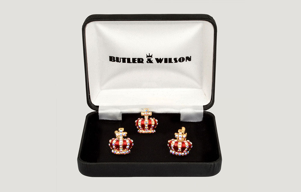 Tiny Crown Cufflinks and Clutch Pin Set