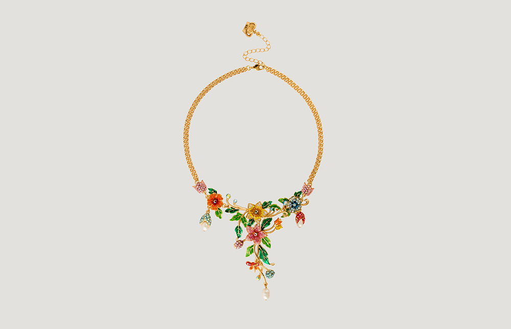 Y-Shape Flowers and Leaves Double Chain Necklace