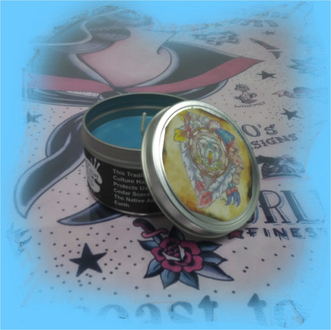 Watchful Spirit: Body Art Lover's 4.5 Ounce Candle Tin