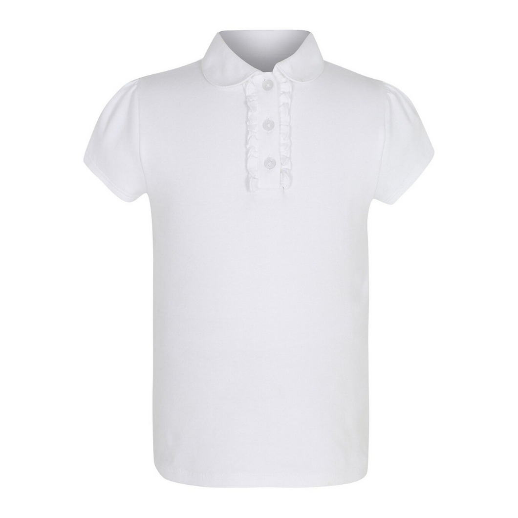 White Frilled Polo Shirt (Girls)