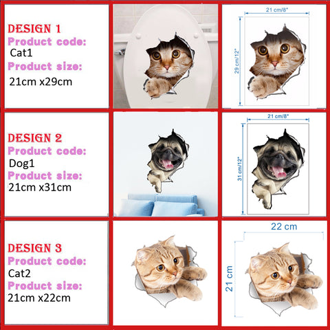 3D Cats / Dogs Wall Stickers Hole View Vivid Pets Image Stickers HahaGet