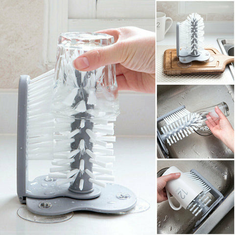 Suction Wall Lazy Creative Cup Bottles Cleaning Brush Kitchen Tool HahaGet