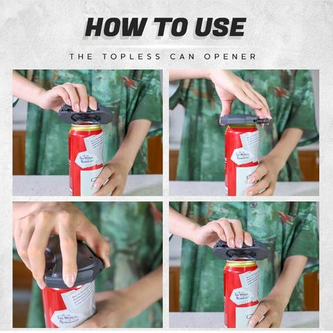 Can opener, topless can opener, can opener how to use, How to use a can opener, how to use the can opener, how to open a can with a can opener.