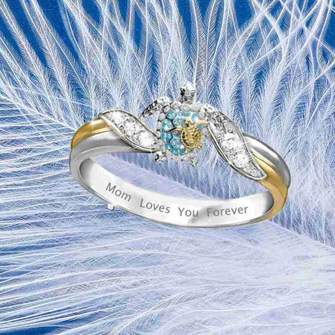 Mom Loves You Forever Sea Turtle Ring HahaGet