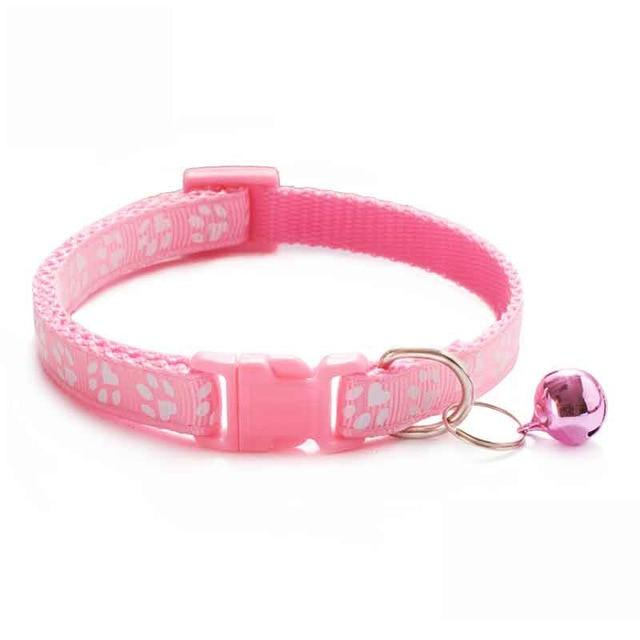 Adjustable Cute Paw Print Cat Collar With Bell Nylon Ribbon Neck Strap - HahaGet