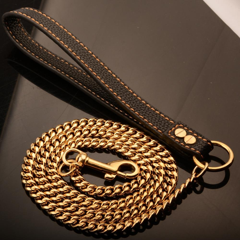 Classic Stainless Steel Pet Gold Chain Dog Leashes - HahaGet